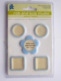 5609- Rob & Bob studio kleine blauwe lijstjes 2.5x2.5cm
