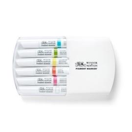 JOY-C0290046- Winsor Newton pigment marker set - 6 stuks levende kleuren