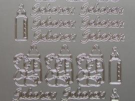200- geboren + afbeeldingen zilver 10x20cm
