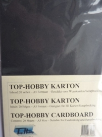 32- 20 vellen kaartkarton A5 formaat voor dubbele kaarten ca.225grams zwart