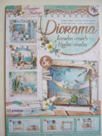 3055- blok met 8 stuks diorama gestanste kaarten 'summer feelings' 14.8x10cm