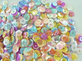 118372/513- 10gram (is grote hoeveelheid) facon pailletten van 6mm pastelmix AB