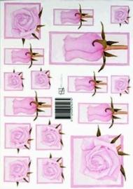 kn/1596- A4 knipvel Marjoleine roze rozen - 117140/1119