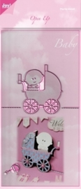 JOY6003/2007- Joy! Crafts cutting & embossingstencil open up baby met kinderwagen 140x280mm