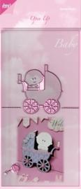 JOY6003/2007- Joy! Crafts cutting & embossingstencil open up baby met kinderwagen 140x280mm
