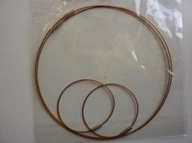 12171-7105- 2 x staaldraad ketting 45cm & 2 x staaldraad armband 18cm donkerbrons kleur