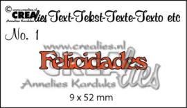 CE115634/4301- Crealies tekststans nr.1 felicidades 9x52mm