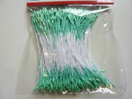 TH12257-5709- 144 stuks meeldraden / bloemstampers van 1mm parelmoer groen