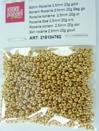 661- 2.5mm glazen rocailles glanzend goud 20 gram - 6104 762