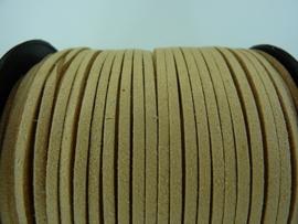 3 meter imitatie suede veter van 3mm breed beige