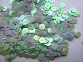605 -10 gram pailletten van 6mm glad plat mint met AB (grote hoeveelheid) SUPERLAGE PRIJS!