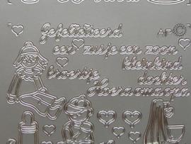 191- gefeliciteerd diverse teksten zilver 10x20cm