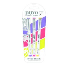 CE309908/6111- Nuvo brush script pens - bright florals 111N - 3 stuks