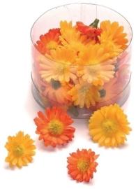 6529 786- 40 stuks decoratie bloemen margrietjes van 2.5 tot 3cm oranje