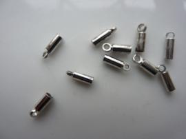 2 mm. veterklemmen/koordkapjes staalkleur 10 stuks - CH036.10 - SUPERLAGE PRIJS!