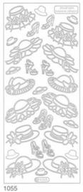 st927- stickervel met diverse hoeden goud 10x23cm  -  121001/1188