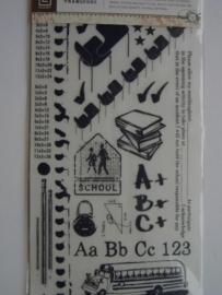 5409- basic grey rub-ons school afbeeldingen incl. krasstokje