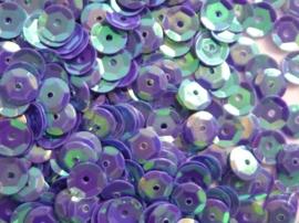 118372/503- 10 gram pailletten 6mm facon blauw/paars AB (grote hoeveelheid) SUPERLAGE PRIJS!