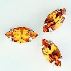 107010/0002- 8 stuks glazen rijg/naai strass steentjes 10x5mm navette kristal topaz