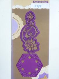 0002374- Joy0031- stencil 2 stuks ornamenten 12cm & 6.2cm lang OPRUIMING