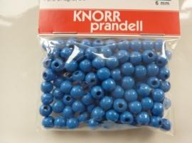 6016 354- 118 stuks houten kralen van 6mm blauw