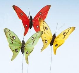 8030 898- 24 stuks veren vlinders van 7x5cm in 6 kleuren op ijzerdraad