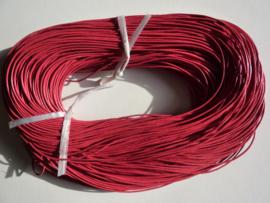 100 meter echt leren veter fuchsia van 1mm dik - AA kwaliteit - SUPERLAGE PRIJS!