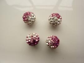 2340.331- strassbal van 10mm roze/zilver