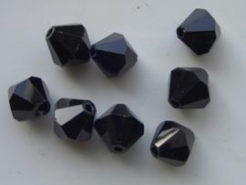 1671- 8 x tsjechische glaskralen geslepen toupille vorm 12.5x12mm zwart hoogglans