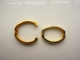 CH.009- pareltwister / parelclip metalen slot voor meerdere strengen goud 25x19mm (klikring)