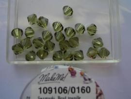 109106/0160 - 25 x swarovski 6mm khaki groen