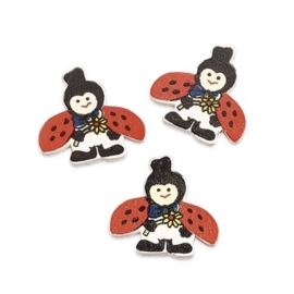 8002 681- 15 stuks houten vrolijke lieveheersbeestjes decoratie van 3cm