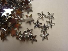 CH.385- 100 stuks kunststof strass steentjes sterren 10x3mm zilver - SUPERLAGE PRIJS!