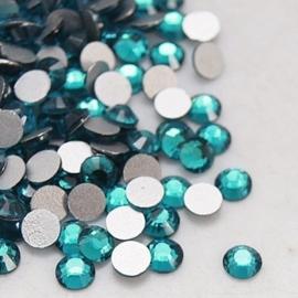 00637- 200 stuks glazen strass steentjes flatback 2mm SS6 blue zircon