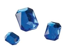 2282 455- 80 x kunststof strass stenen assortiment rechthoeken van 8/10/13mm blauw