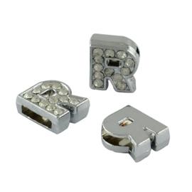 letter R - leerschuiver met strass steentjes zilver 13mm