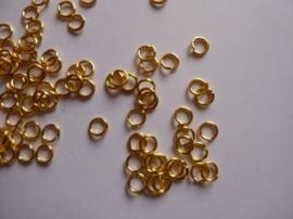 3.5mm enkele ringetjes 30 stuks goudkleur - SUPERLAGE PRIJS!