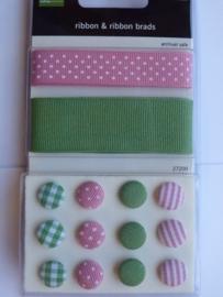 5701- Making Memories ribbon & brads pink/green OPRUIMING