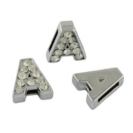 letter A - leerschuiver met strass steentjes zilver 13mm