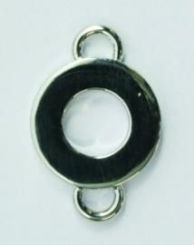 117450/4821- zwaar metalen tussenstuk rond met twee ogen 15mm  verzilverd