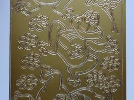 st797- stickervel kikkers en bloemen goud