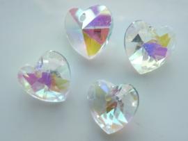 117471/0838- 4 x geslepen kristal glashangers hartjes 14x13x7mm OPRUIMING