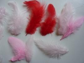 RA85117.18- 10gram maraboe veertjes van 3 tot 10cm rood/roze
