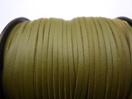 3 meter imitatie suede veter van 3mm breed olijfgroen