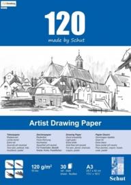 CE114981/1532- 30 vel Schut artist drawing paper 120grams A3 tekenpapier
