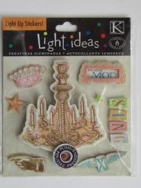 5591- K&Co kerst kroonluchter 8cm hoog met echt werkende lampjes