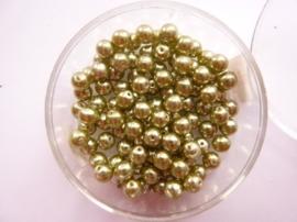 100 x ronde glasparels in een doosje 4mm mosgroen  -  2219 540