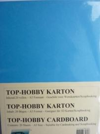 21- 20 vellen kaartkarton A5 formaat voor dubbele kaarten ca.225grams kobalt blauw