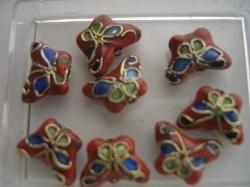 Vlinder CLOISSONNE kralen 5 stuks rood 1382