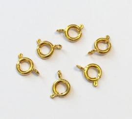 CE430502/6402- 6 stuks veersluitingen van 7mm goudkleur